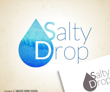 Watercolor blue drop logo - Free vector #373501