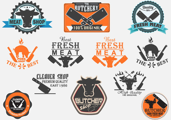 Butchery and Cleaver Labels Vector Set - vector gratuit #373691