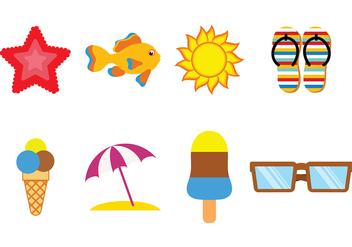 Fun Beach Icon Vectors - Free vector #373941