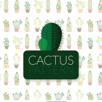 Thin line color cactus pattern - Kostenloses vector #373991