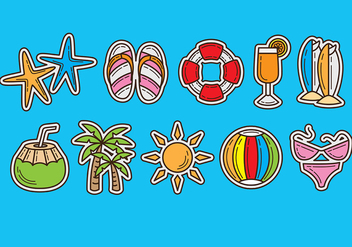 Beach Vector Icons - бесплатный vector #374061