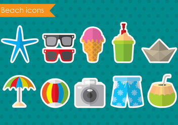 Colorful Vector Beach Icons - бесплатный vector #374111