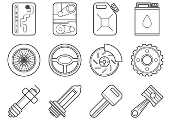 Free Mechanic and Car Parts Icon Vector - vector gratuit #374241