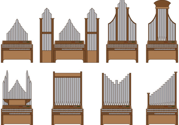 Set Of Pipe Organ Vector - vector gratuit #374251