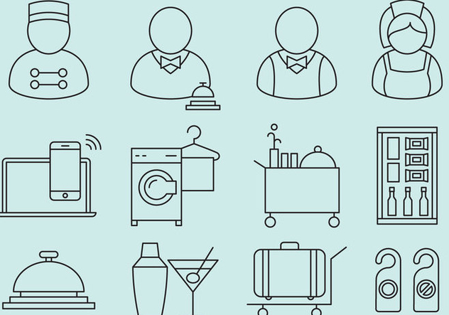 Hotel Staff And Service Icons - Kostenloses vector #374321