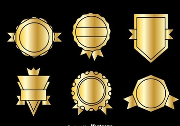 Golden Blank Badge Vector - vector gratuit #374521