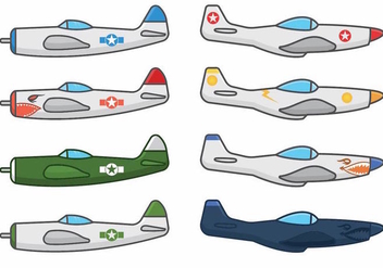 World War 2 Air Plane Vectors - Free vector #374591