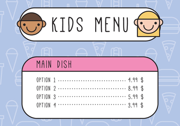 Kids Outlined Menu - vector gratuit #374601