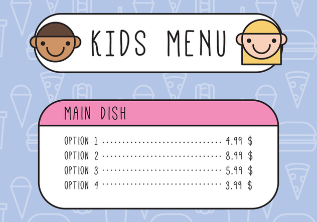 Kids Outlined Menu - Free vector #374601