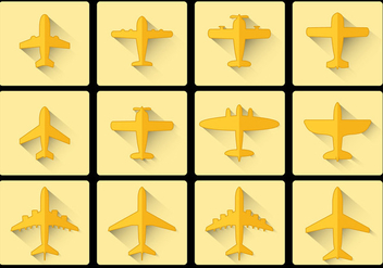 Avion Airplane icon flat design - бесплатный vector #374811