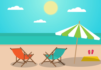Flat Summer Landscape With Deck Chairs - бесплатный vector #374821