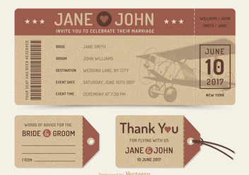 Free Vector Retro Wedding Plane Ticket - Kostenloses vector #374831