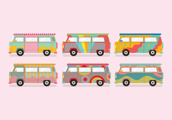 Hippie Bus Vector - Free vector #374851