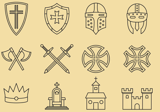 Templar And Medieval Icons - vector gratuit #374891