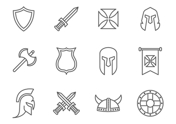 Free Simple Line Medieval War / Knight Templar Icons - vector gratuit #374931