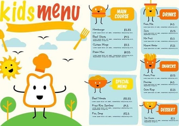 Free Template Kids Menu Vector - vector gratuit #375071