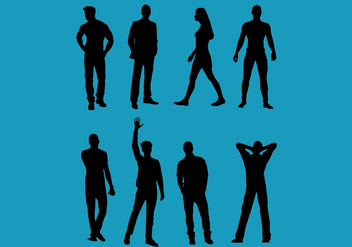 Man and woman vector silhouettes 2 - Kostenloses vector #375081