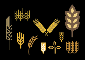 Wheat stalk vector set - vector gratuit #375201