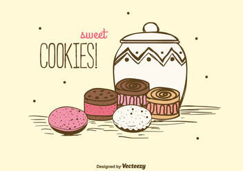Sweet Cookies Background - vector gratuit #375311