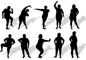 Set Of Plus Size Woman Silhouettes Vector - Free vector #375471