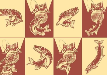 Pike Fshing Poster Set - Free vector #375611