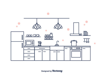 Kitchen Interior Vector - Free vector #375621
