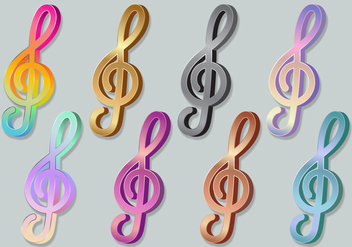 Violin Key Treble Clef 3D Icons - vector gratuit #376001