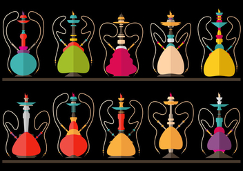 Hookah Nargile Shissha vector flat illustration set - vector gratuit #376041