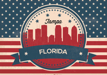 Retro Tampa Florida Skyline Illustration - vector gratuit #376141