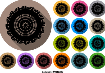 Vector Buttons Of Black Tractor Tire Icon - Free vector #376151