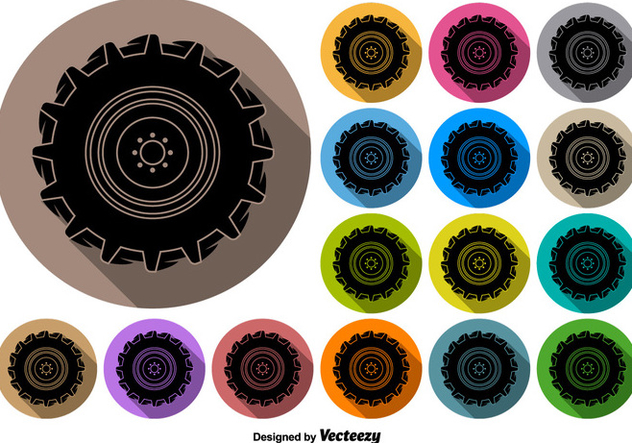 Vector Buttons Of Black Tractor Tire Icon - Kostenloses vector #376151