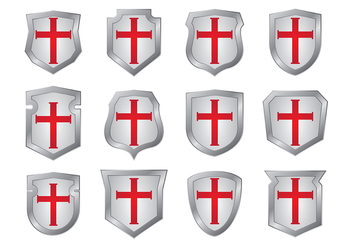 Templar Shield Shapes Vectors - Free vector #376171