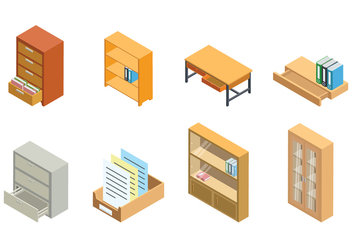 Free Isometric File Cabinet and Storage Vector - vector gratuit #376271