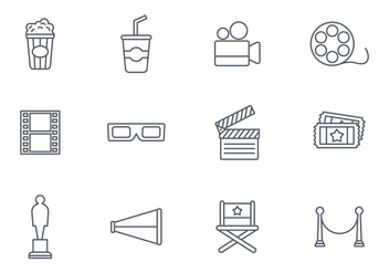 Free Movie Line Icon Set Vector - vector gratuit #376291