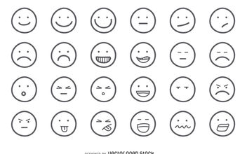 Emoji outline set - vector gratuit #376541