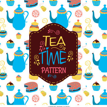 Tea time pattern background - vector #376561 gratis