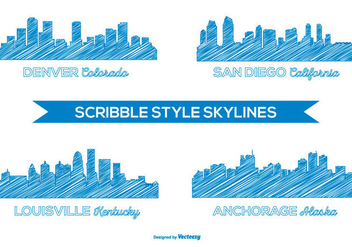 Scribble Style City Skylines - vector gratuit #376581