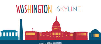 Washington skyline illustration - бесплатный vector #376641
