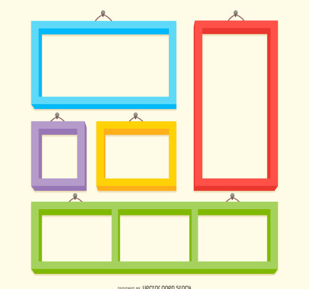 Colorful frame set - Free vector #376661