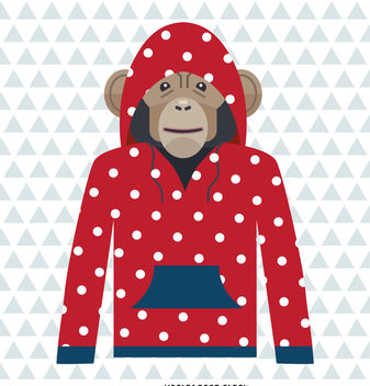 Monkey polka dot hoodie drawing - vector gratuit #376681