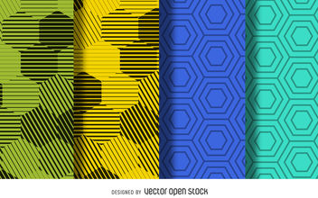 Hexagon pattern background set - Free vector #376901