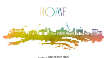 Rome watercolor skyline - vector gratuit #376911
