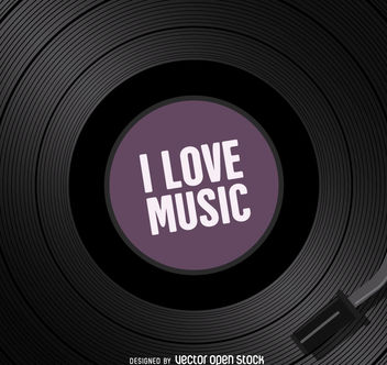 I love music vinyl - vector gratuit #376951