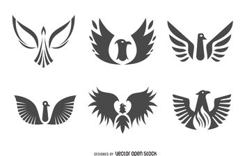 Flat phoenix bird logo set - бесплатный vector #376961