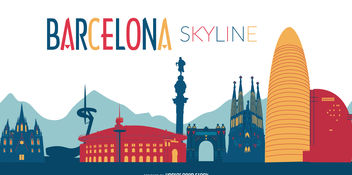 Colorful Barcelona skyline illustration - бесплатный vector #376971