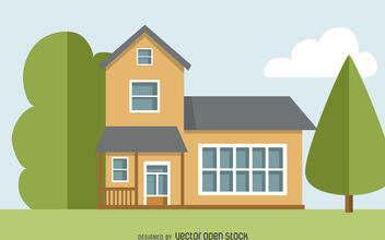 Two story house drawing - vector gratuit #377041