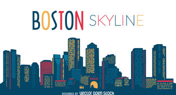 Boston city skyline - vector gratuit #377111