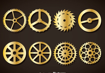 Gold Clock Gears Vector - бесплатный vector #377481