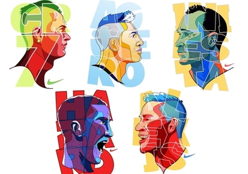 Colorful Futbol Player Vectors - Kostenloses vector #377841