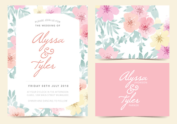 Floral Vector Wedding Invite - vector gratuit #377921